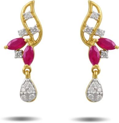 P.N.Gadgil Jewellers Hurly Burly Yellow Gold 18kt Diamond Drop Earring(Yellow Gold Plated) at flipkart