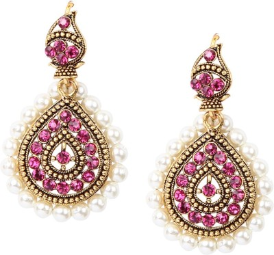 Giftmania PCP Sparkle Pearl, Crystal Brass Jhumki Earring