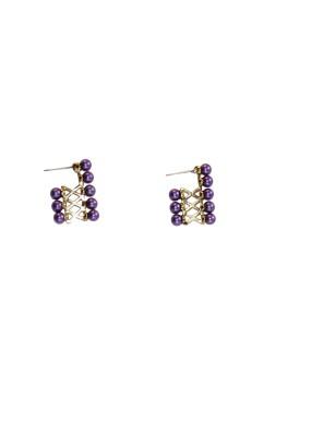 Women Trendz Golden Polish Fancy Brass Stud Earring