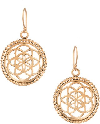 Gemshop Fashionable Yellow Gold Toned Alloy Dangle Earring