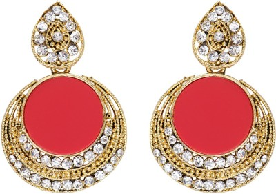 Mitthi Jewels Party Wear Red Traditional Type Designer Earrings Alloy Drop Earring