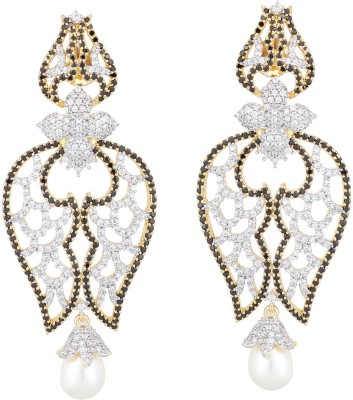 JC Two Tone Gold Rhodium Electro Plated - Moti Drop (Black) Metal Chandelier Earring