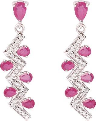 RR FOREVER Gemstone Ruby Silver Dangle Earring