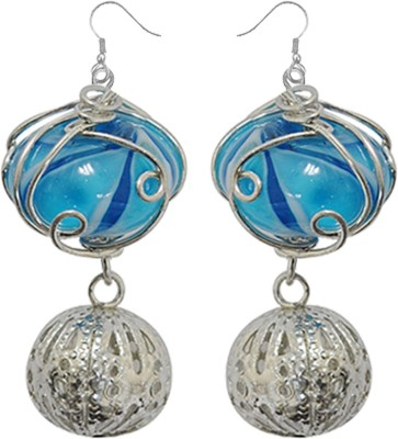 Kenway Retail Cool Trellis Metal, Glass Dangle Earring