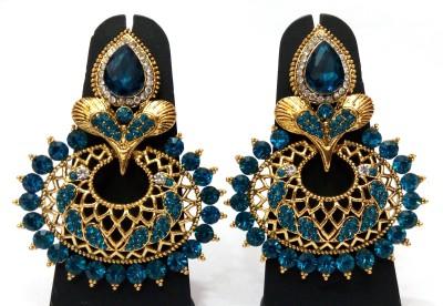 Womaniya Intense Blue Alloy Chandelier Earring