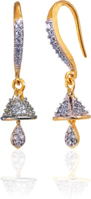 Fashion Fusion ES009002A Advika Cubic Zirconia Brass, Alloy Dangle Earring