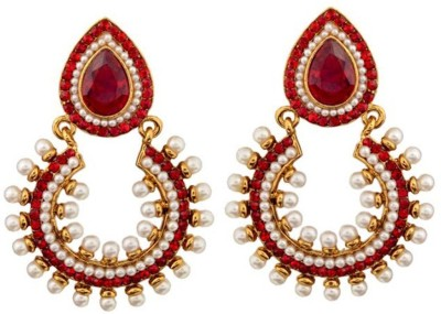 Gold & More Red & White Chaand Bali Copper Dangle Earring