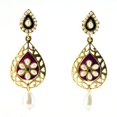 Gehnewala Ethnic Pearl Enamelled Brass Drop Earring