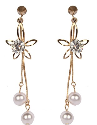 Divitha Allure Hanging frower pearls from Divitha Allure. Alloy Drop Earring