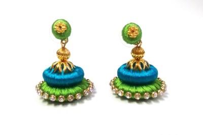 Ovis Creations WOODEN RING JUMKKA Beads Silk Dori Jhumki Earring