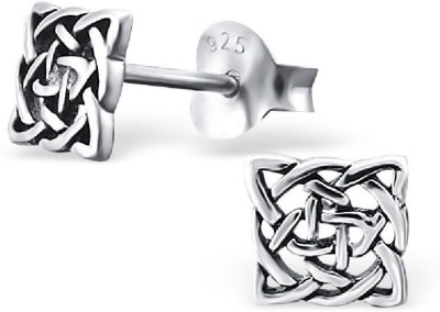 Maayin Celtic Knot Square Sterling Silver Stud Earring
