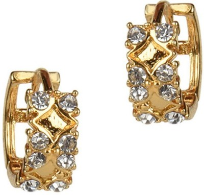 Golden Petals Sparkle Crystal Alloy Hoop Earring