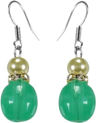 Crystals & Beads Columbian Emerald Green Colour Round Moonball & White Pearl with Diamond Spacer Acrylic, Glass, Crystal Dangle Earring