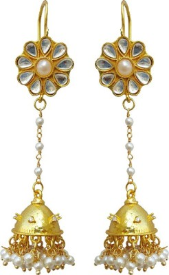 Rajasthani Traditions Kundan Floral Motifs Copper Dangle Earring