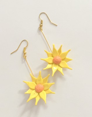 Craffiti Sunflower Clay Ceramic Drop Earring