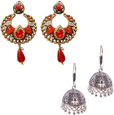 MK Jewellers Ehtnic Victoria Red & Oxidized Antique Earring Combo Brass, Copper Earring Set