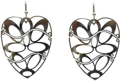 LeCalla Laser Cut Heart Rhodium Sterling Silver Dangle Earring
