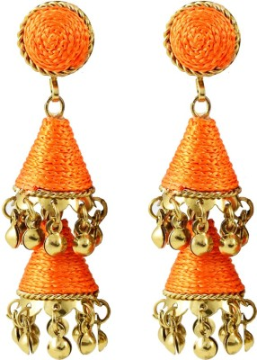 Harini Orange Cone Shape Metal Jhumki Earring