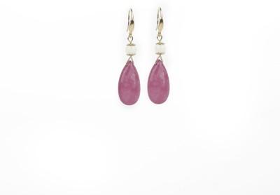 Jewelfin Pink Stone Alloy Drop Earring