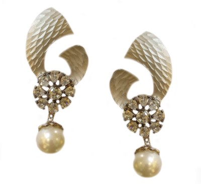 Jalparee Distinctive Floral silver Alloy Drop Earring