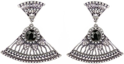 000 Fashions Silver Traditional Antique Gold Crystal Alloy Jhumki Earring