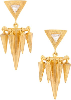 Voylla Artificial Classic Textured Crystal Metal Dangle Earring