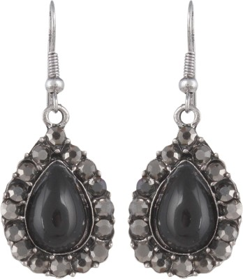 Anamis Antique look pan shape with stones, black colour -Traditional cum fashionable AMFJEP007 Aluminum Dangle Earring