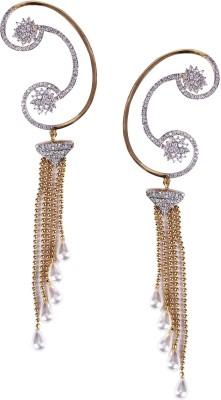 Giftmania American Diamond Wish Pearl Brass Cuff Earring