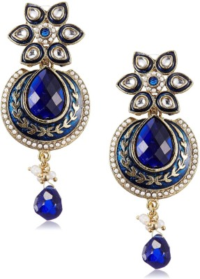 Royal Bling Sapphire Floral Delight Metal Drop Earring