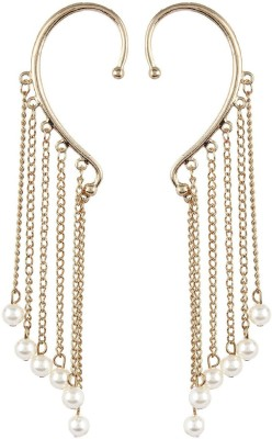 Fayon Designer Modern Gold Tassel With Pearl Graceful Earcuff For Both Ear Alloy Clip-on Earring