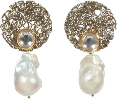 Envy Natural Pearl Brass Drop Earring