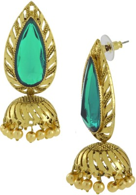 Naveli Gold Plated Green Crystal & Pearl Copper Drop Earring
