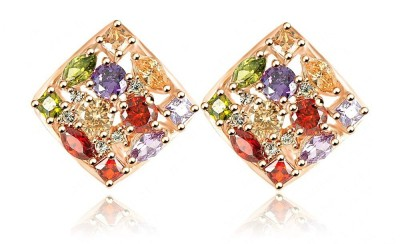 Wearyourfashion Austrian Multicolour Square Cubic Zirconia Alloy Stud Earring