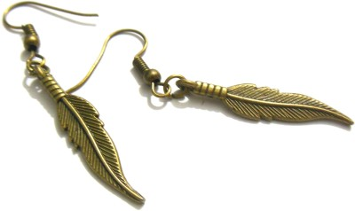 Bohocraft Bohemian Bronze Feather Metal Dangle Earring