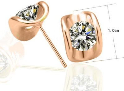 Silver Shoppee Immaculate Crystal, Cubic Zirconia Copper Stud Earring