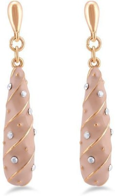 Jazz Jewellery Pair of Pretty Dangler Gold Color Earrings Studded Alloy Drop Earring