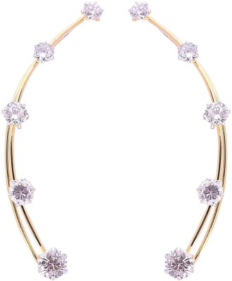 Bandish Gold toned American Diamond Earwire Cubic Zirconia Alloy Cuff Earring