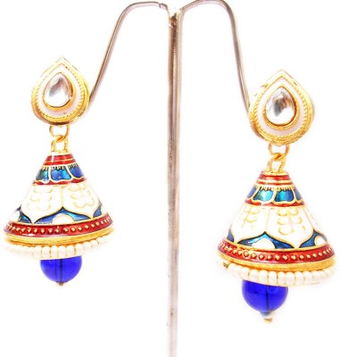 MK Jewellers Traditional Meenakari Enamelled Earingss Crystal Brass Dangle Earring