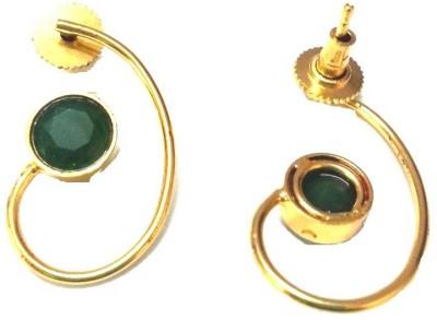 6lotus Green Stone Brass Drop Earring