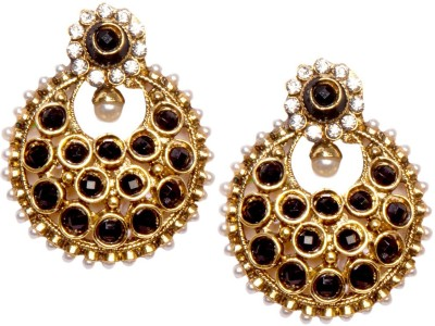 Bezel T - 384 - Pearl Black Alloy Chandbali Earring