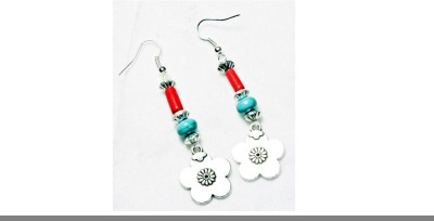 Karukala Red Turquoise Metal Flower Acrylic, Alloy Dangle Earring