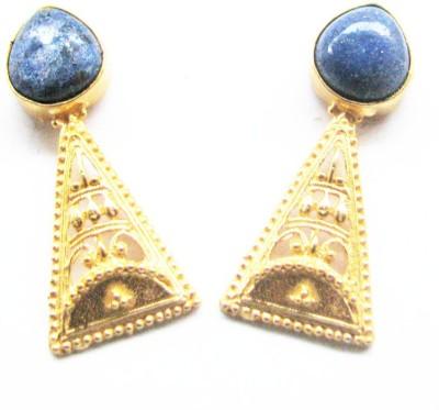 Bhrti semi precious Gold plated Lapis Lazuli Brass Stud Earring