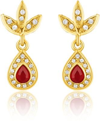Oviya Red Leafy-Dew Crystal Brass, Alloy Drop Earring