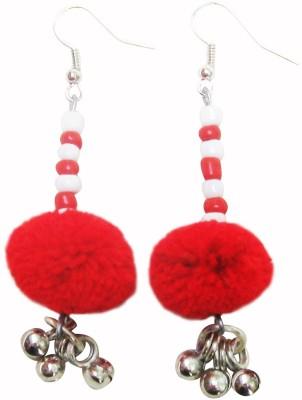 Juhi Malhotra Red And White Beauty Ceramic Dangle Earring