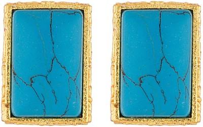 Voylla Artifictial Classic Textured Crystal Metal Stud Earring