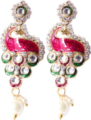Triumphin Light Weight Mayoor Crystal Brass Drop Earring