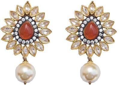 6 Lotus FESTIVE COLLECTION Cubic Zirconia Brass Drop Earring