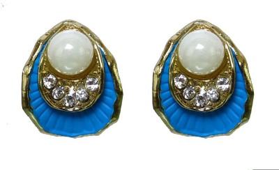 Modish Look Blue Shell Design Brass Stud Earring