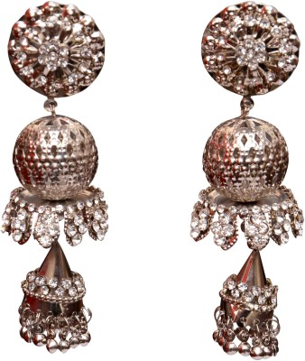 Neelam Fashions And Accessories silver color with white jhumka Alloy Jhumki Earring