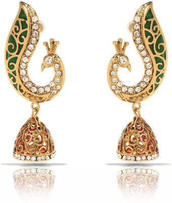 Oviya Green and Red Peacock Crystal Brass, Alloy Dangle Earring